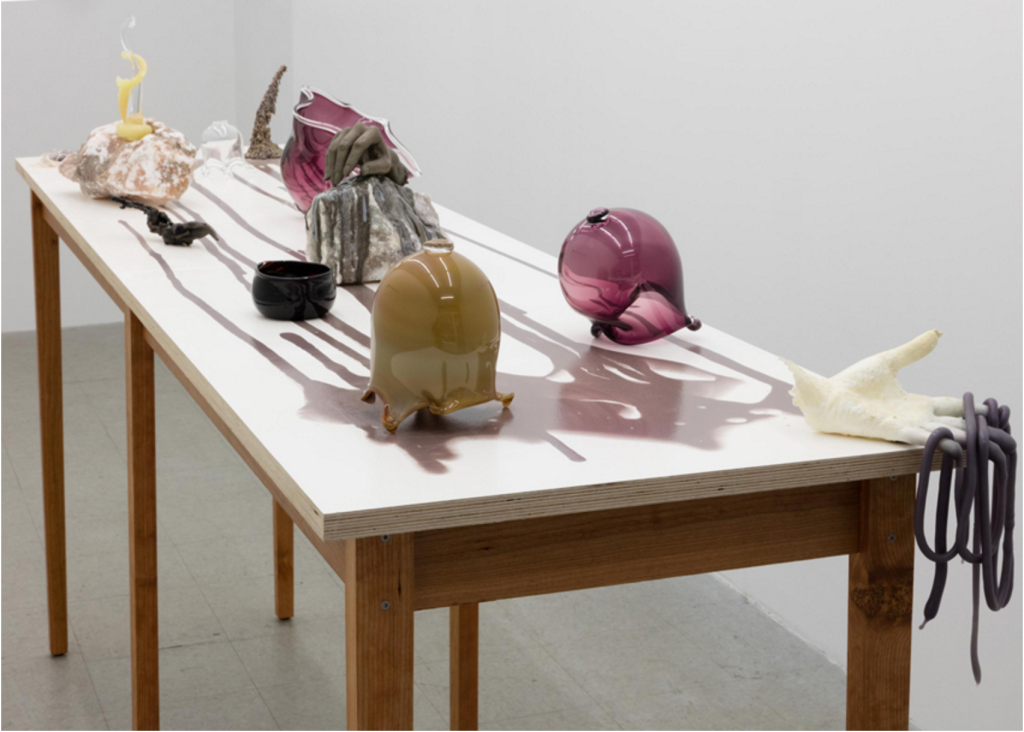 """Kelly Akashi, """"&"""" Installation view at Tomorrow Gallery, New York, Photograph courtesy of the gallery, 2015"""