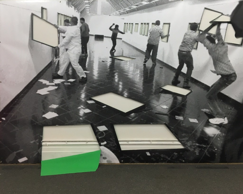 """SPRINGBREAK 2016: Booth #4030 """"Recursive States"""" Curated by Vince Contarino, Brian Balderston, Chad Stayrook + José Ruiz, Pictured: Sreshta Rit Premnath """"To destroy is also to make visible,"""" (2016) Greenscreen Paint on UV Print on Vinyl"""