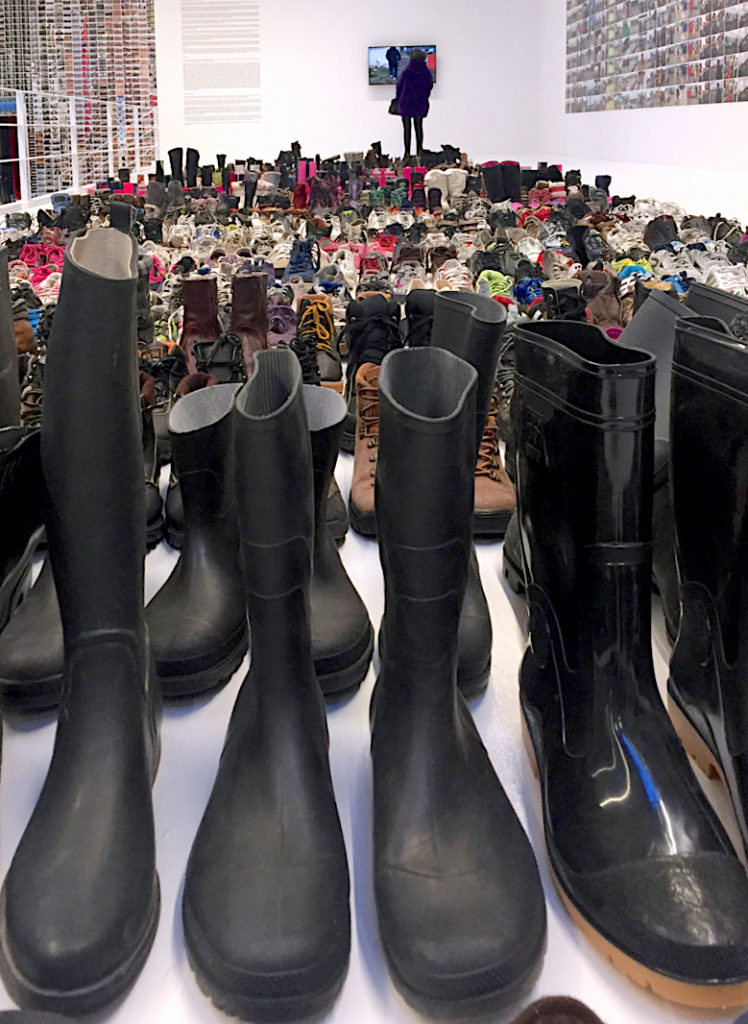 Ai Weiwei, Laundromat, Shoes on 2nd Tier, 2016, Installation view in Jeffrey Deitch Gallery, NY, Photograph by Katy Hamer, 2016