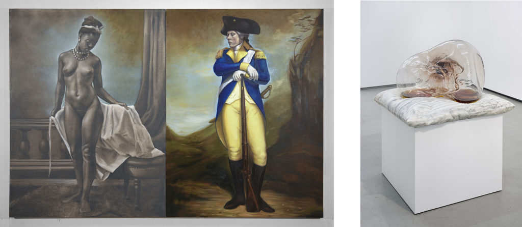 "Titus Kaphar, Left: ""Shifting Skies"" (2016) Left: ""A Pillow for Fragile Fictions"" (2016) Shifting Skies, Jack Shainman Gallery, New York. December 16, 2016 - January 28, 2017. Courtesy of Jack Shainman Gallery, New York, 2016"