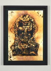 """Titus Kaphar, """"Glass Blackened, Green Molding Mold,"""" (2016): Shifting Skies at Jack Shainman Gallery, Courtesy of Jack Shainman Gallery, 2016"""