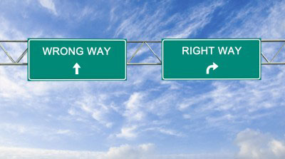 right or wrong way sign