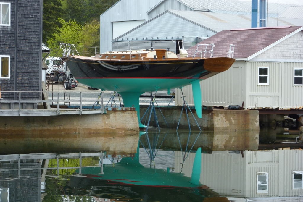 Launching 49-foot cold-molded yacht Dreadnought, Brooklin Boat Yard