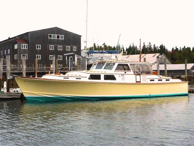 56-foot gentleman's motoryacht Stingray docked at Brooklin Boat Yard