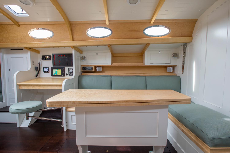 Interior of Dreadnought Sailing Yacht, Brooklin Boat Yard