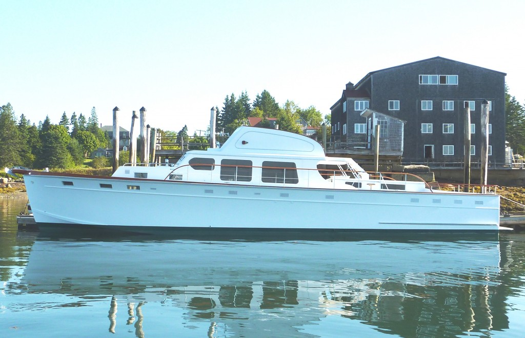 Restored Huckins Out Island 56 Meridian docked at Brooklin Boat Yard after restoration