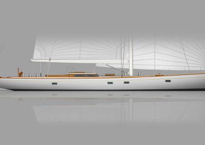82 Foot Profile Concept R08, Brooklin Boat Yard