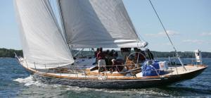 Crew aboard Goshawk cruising sloop, Brooklin Boat Yard