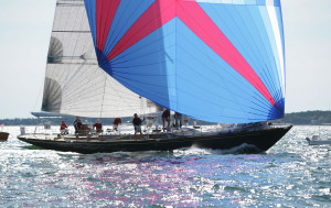 Close-up of Goshawk ocean racer at full sail, Brooklin Boat Yard