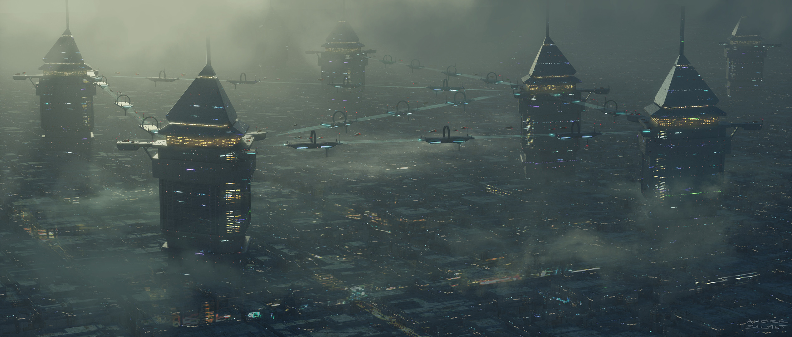 SciFi Future City worldbuilding design photoshop 3d