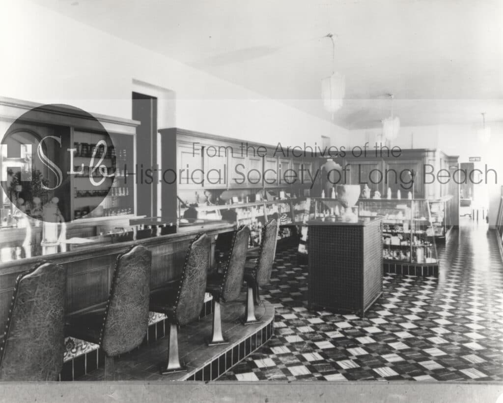 Soda fountain at the Harriman Jones Clinic, c. 1920