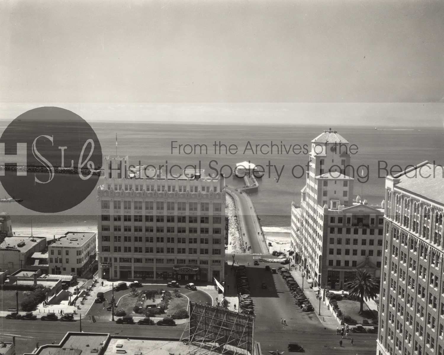 Rooftop view down the Pine Ave. and Rainbow piers, 1934