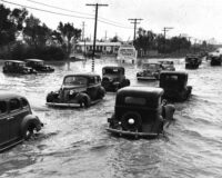Long beach california flood vintage photograph