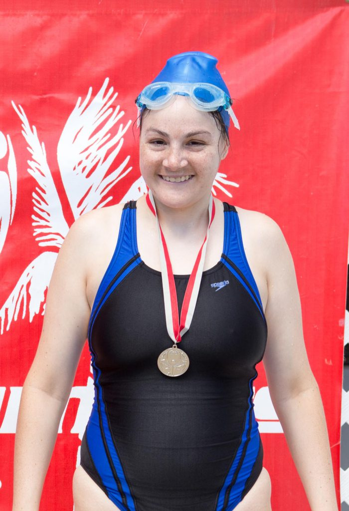 Swimmer athlete with gold medal