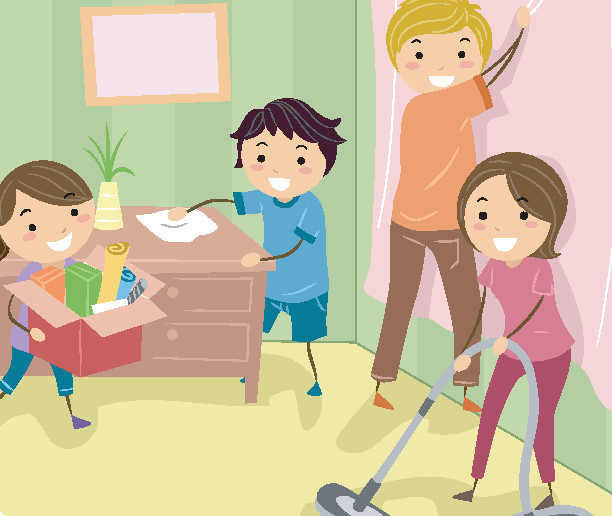 llustration of a Family Doing Some Spring Cleaning