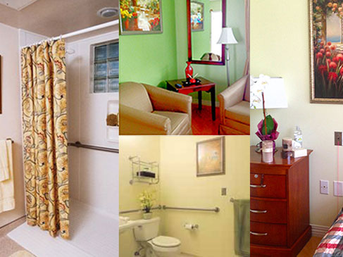 A montage of images, a walk-in shower, a bathroom with hand support rails, a lovely sitting area, and a bed and chest of drawers.
