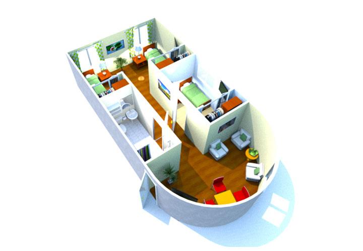A small diagram of a residence unit at Azalea Gardens.