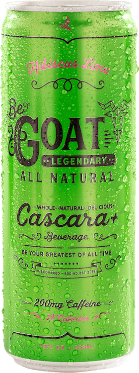 A cold can of Hibiscus Lime Flavor BeGOAT Cascara+