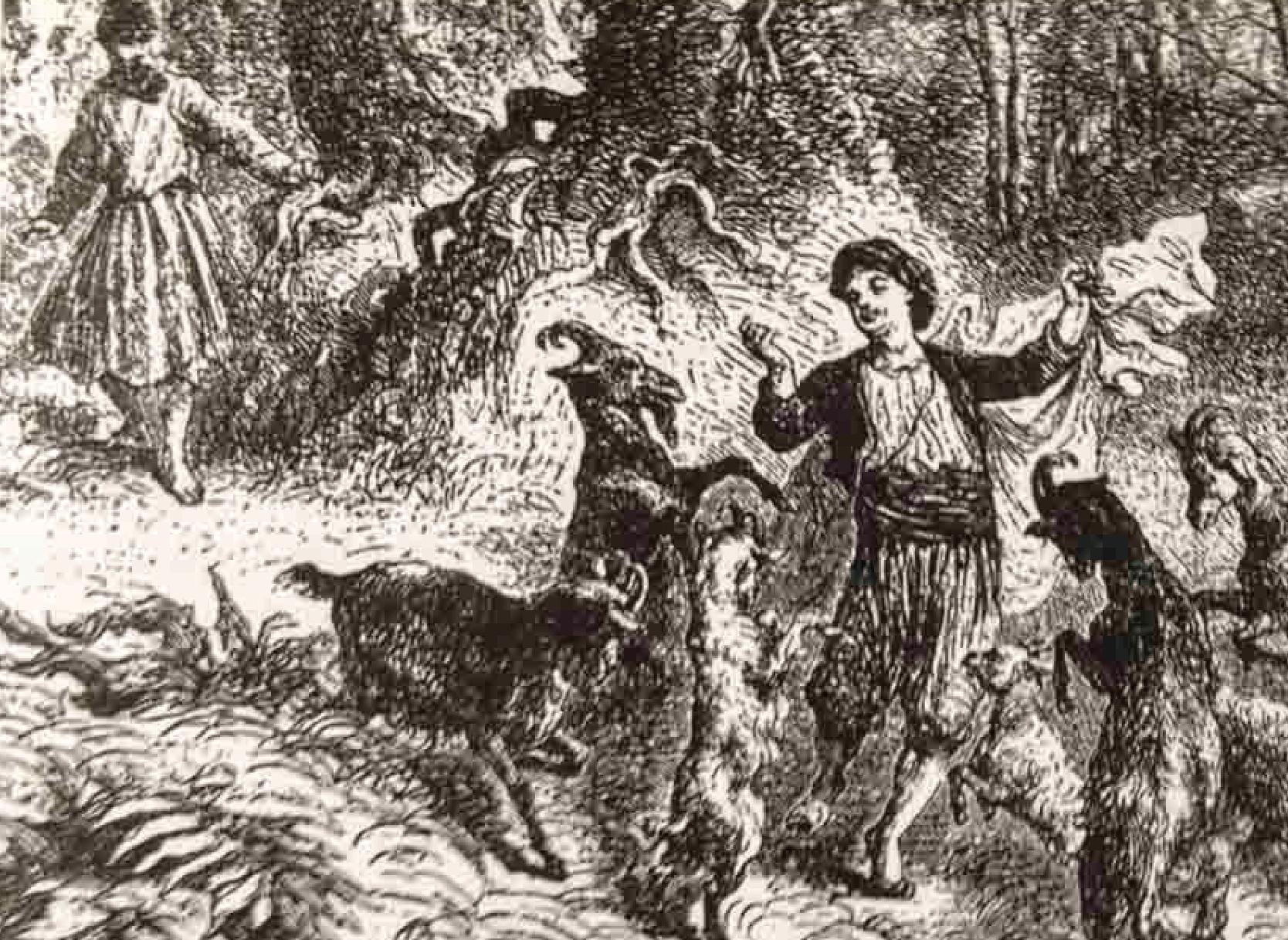 Illustration of Kaldi the goat herder.