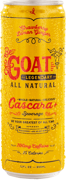 A cold can of Strawberry Lemon Flavor BeGOAT Cascara+