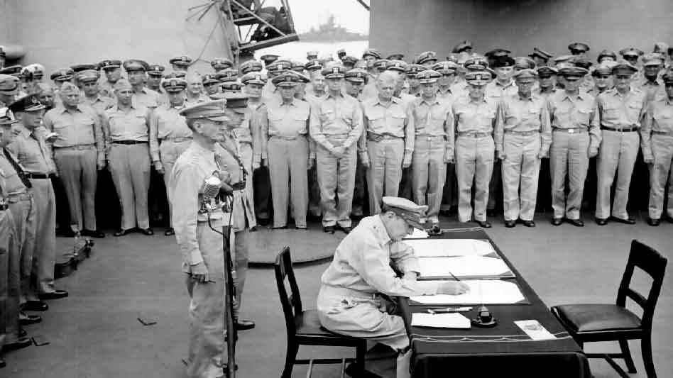 Pray America Great Again General Douglas MacArthur Signs Formal Agreement Of Japan Surrender