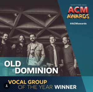Old Dominion Wins Vocal Group of the Year at the 2018 Academy of Country Music Awards