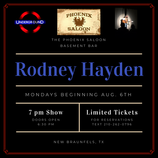 New Monday Music Series at the Phoenix Saloon with R.L. Hayden