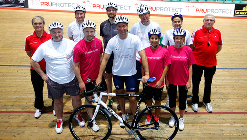 Michael Vaughan Gears up for Laureus charity bike ride with Velodrome run-through.