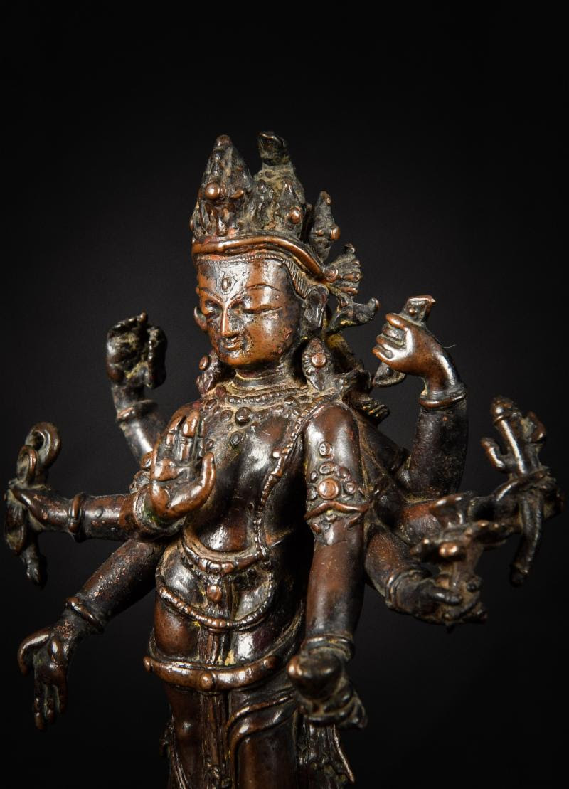 A Serene 15th century Nepalese sculpture of Amoghapasha