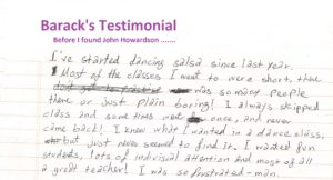 John Howardson Dance Student Reviews and Testimonials thank you