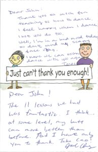 John Howardson Dance thank you card from students