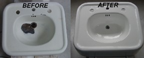 Porcelain Sink Before and After Refinishing