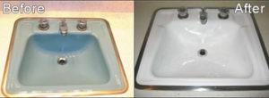 Bathroom sink before and after refinishing!