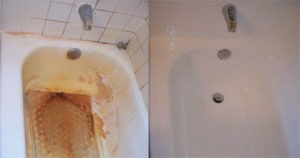 Porcelain Tub before and after refinishing