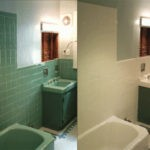Tiled Bathroom Walls before and after refinishing in MultiSpec