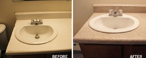 Cultured Marble Bathroom Countertop with Removable Sink