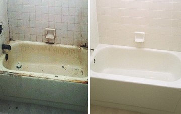 Porcelain Tub and Tiled Wall Surround