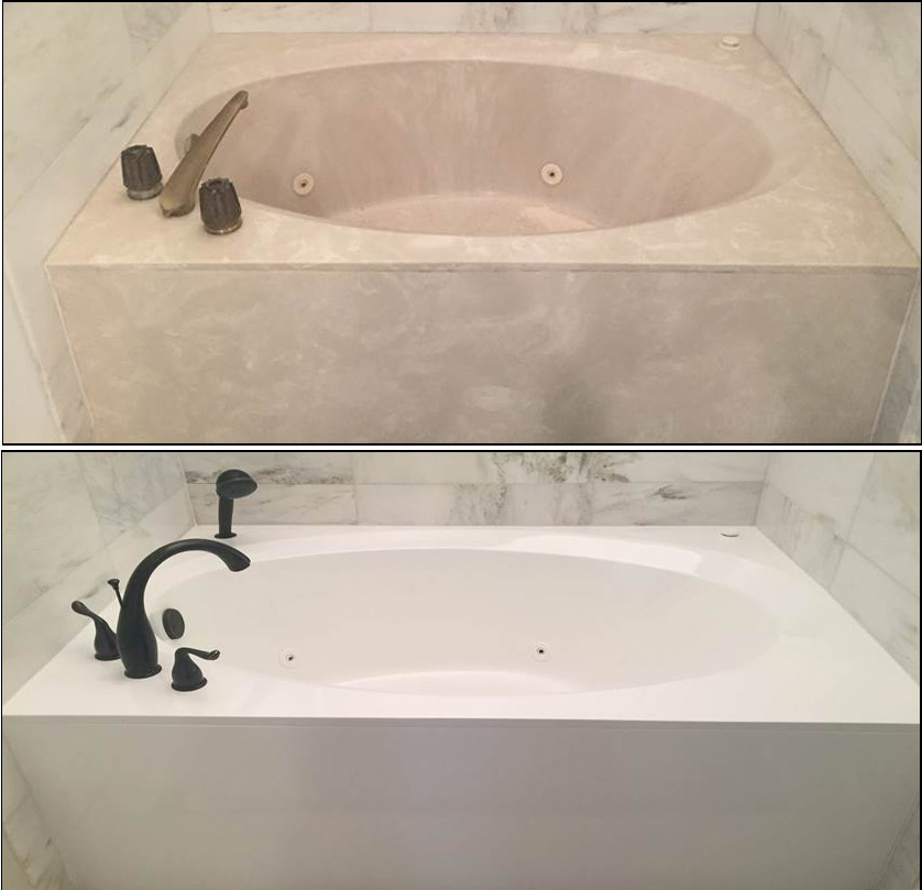 Cultured Marble Jetted Bathtub and Deck