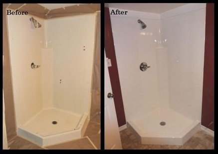 Acrylic Shower Before and After Refinishing