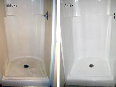 Fiberglass Shower Before and After Refinishing