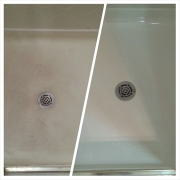 Fiberglass Shower Floor Before and After Refinishing