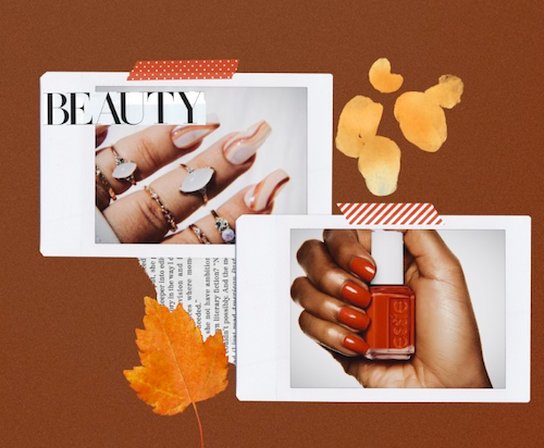 Fall themed collage with swirl nails and red nail polish