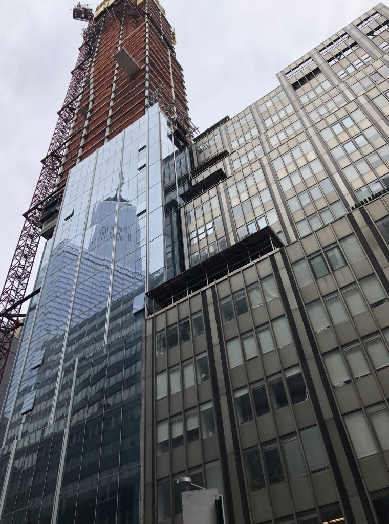 The reflection of the World Trade Center