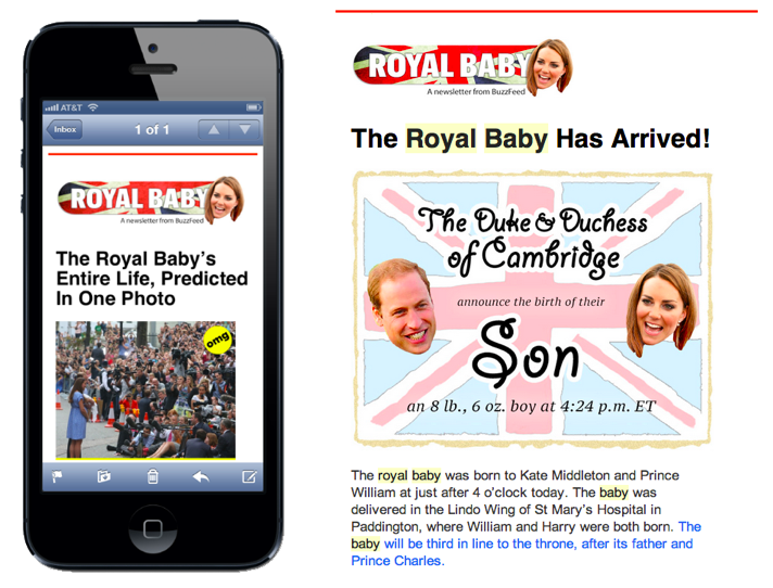 screenshots from the royal baby newsletter