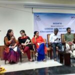 Inaugural session (from left): Dr Bandita Panda, Raksha Kumar, Ramya Kannan, Dr A Kannan, department head, media science, Anna University; TM Krishna, and Dr TV Geetha