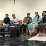 Session 4: Reporting from the margins (from left): Aheli Moitra (Nagaland), Anjulika Samom, Manipur), Linda Chhakchhuak (Meghalaya), Pushpa Usendi (Bastar), Namita Waikar (PARI), Raihana Maqbool (Kashmir).