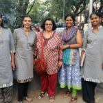 Women in Grey: NWMI Chennai organising team (from left): Ramya Kannan, B Jayashree, Induja Raghunatha, Susheela and Shamantha from Bengaluru, Jaymani, Jency Samuel.