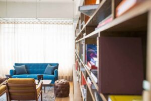 room with blue sofa and bookshelves