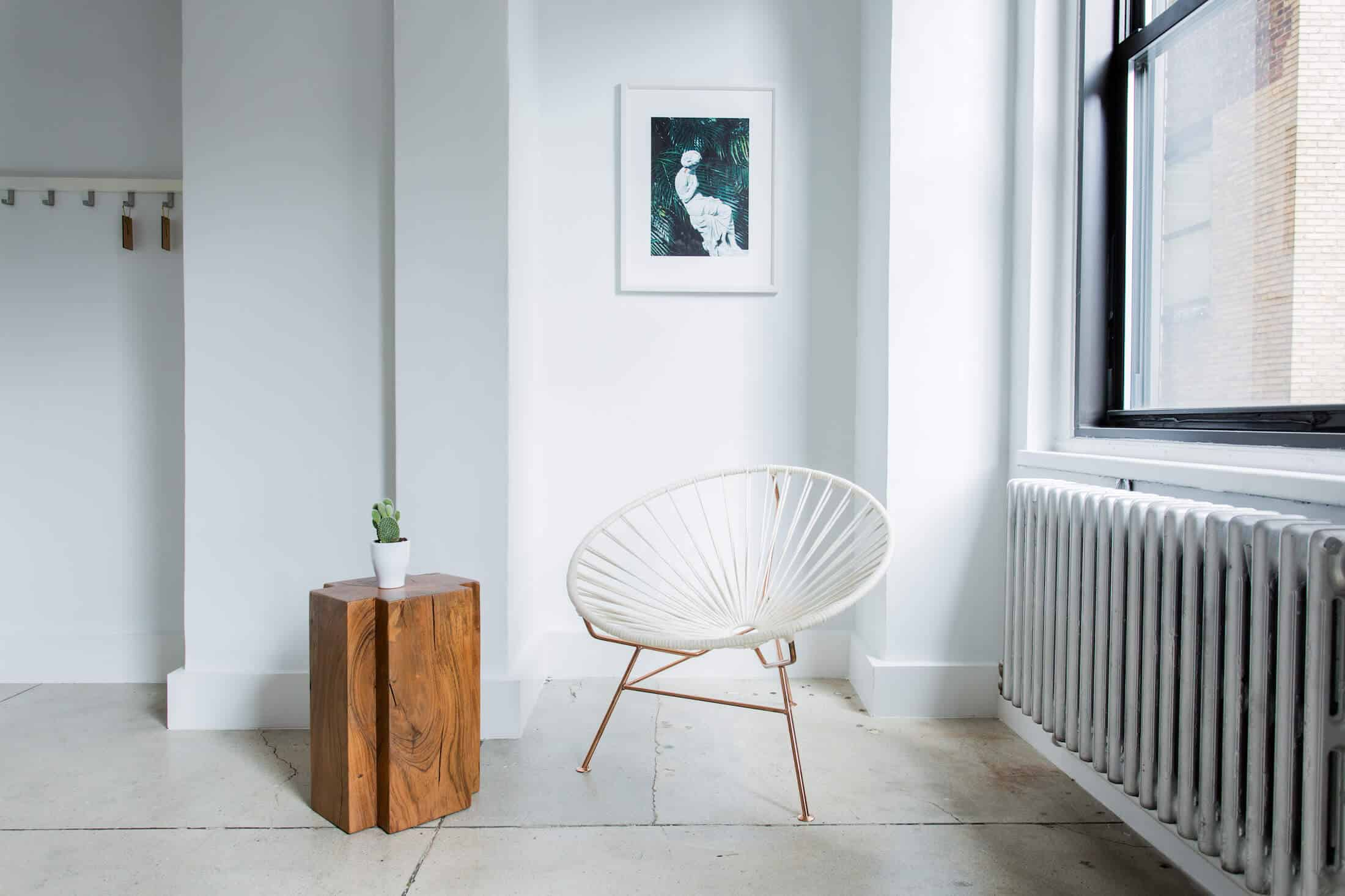 chair and wooden side table