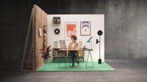 woman on an office set